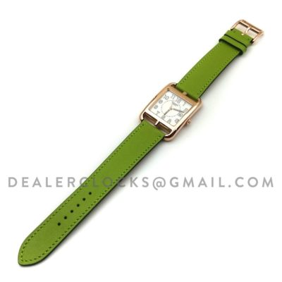 Cape Cod GM Quartz Rose Gold on Green Fjord Leather Strap