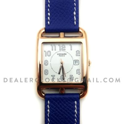 Cape Cod GM Quartz Rose Gold on Blue Epsom Leather Strap