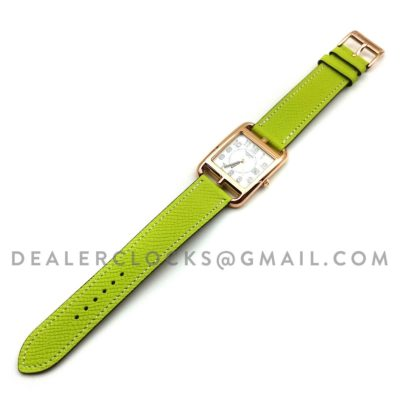 Cape Cod GM Quartz Rose Gold on Green Epsom Leather Strap