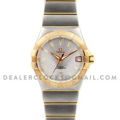 Constellation 38mm White Sunburst Dial Bi Metal Gold