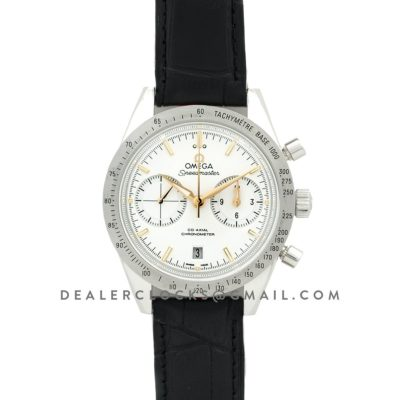 Speedmaster '57 Co-Axial White/Rose Gold Dial on Black Leather Strap