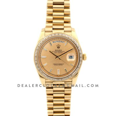 Day-Date 40 Yellow Gold Diamond Bezel 228348 Champagne Dial