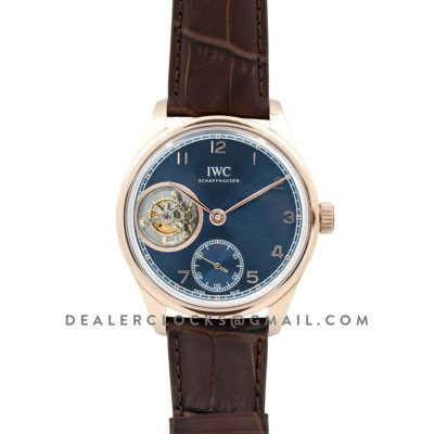 Portuguese Tourbillon Hand Wound IW5463 Blue Dial in Rose Gold