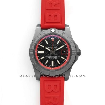 Avenger II GMT Carbon Fiber Dial in PVD Steel on Rubber Strap