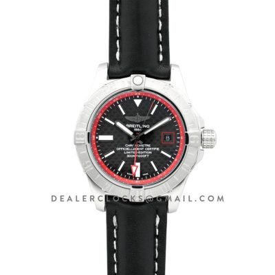 Avenger II GMT Carbon Fiber Dial in Steel on Leather Strap