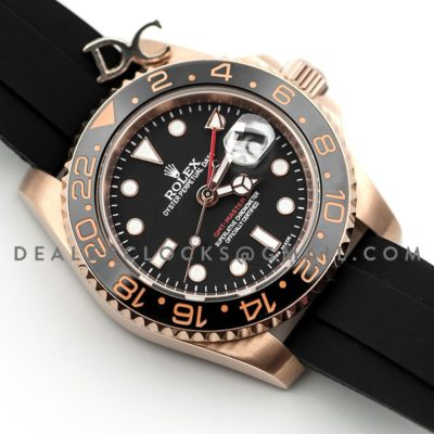 GMT Master II in Rose Gold on Rubber Strap