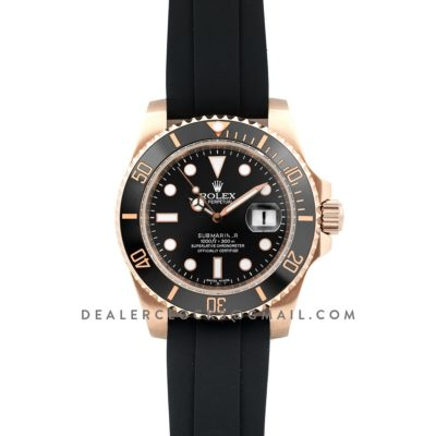 Submariner in Rose Gold on Rubber Strap