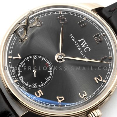 Portuguese Hand Wound Eight Days IW545406 Black Dial in Rose Gold