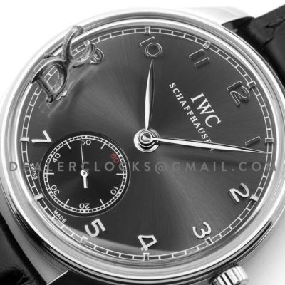 Portuguese Hand Wound Eight Days IW510202 Black Dial in Steel