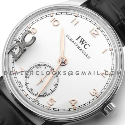 Portuguese Hand Wound Eight Days IW545408 White RG Dial in Steel