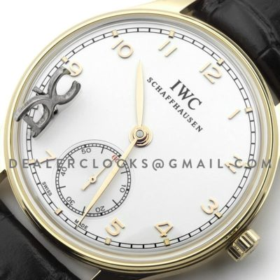 Portuguese Hand Wound Eight Days IW545409 White Dial in Gold