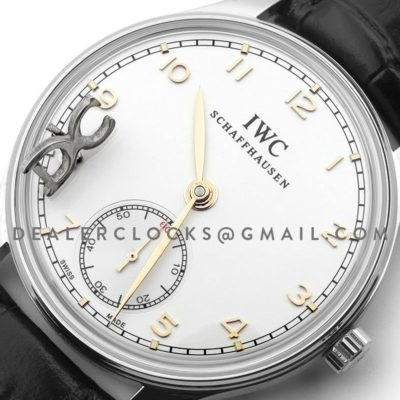Portuguese Hand Wound Eight Days IW545408 White Dial in Steel