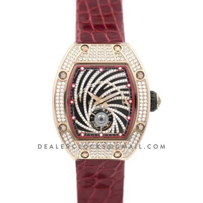 RM 051-02 Tourbillon Diamond Twister in Rose Gold on Red Strap