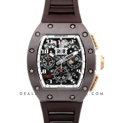 RM 011 Automatic Flyback Chronograph TZP-Z Brown Ceramic Asia Boutique Limited Edition on Brown Rubber Strap