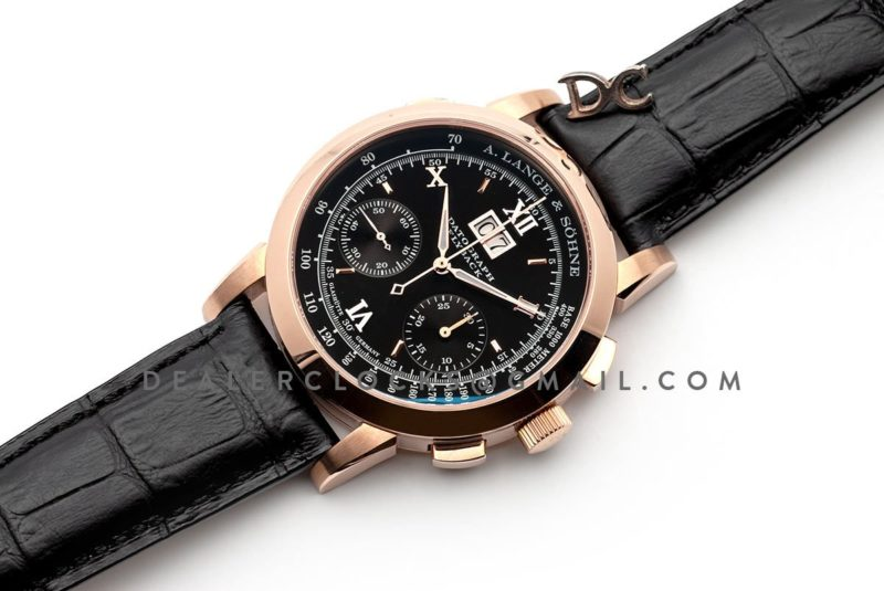 Datograph Chronograph Flyback Black Dial in Rose Gold