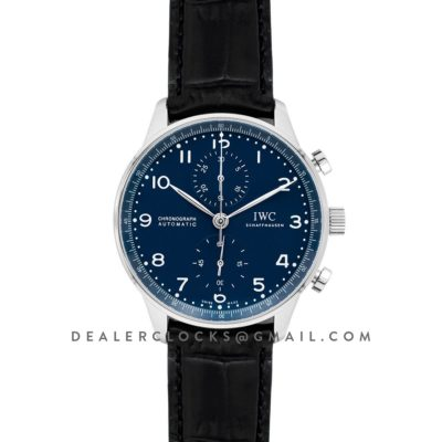 """Portugieser Chronograph Edition """"150 Years"""" IW371601 Blue Dial In Steel"""
