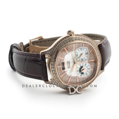 Black Tie Emperador Cushion White Dial in Rose Gold with Diamond Bezel and Dial