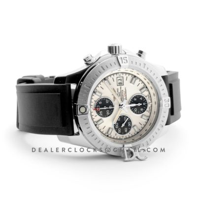 Colt Chronograph 44mm White Dial in Steel on Black Rubber Strap