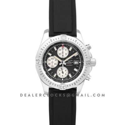 Colt Chronograph 44mm Black Dial in Steel on Black Rubber Strap