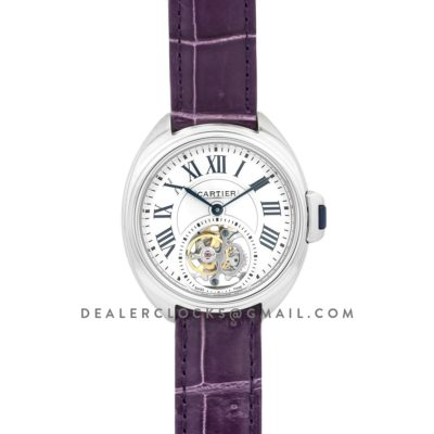Cle de Cartier Tourbillon White Gold 35mm on Purple Leather Strap
