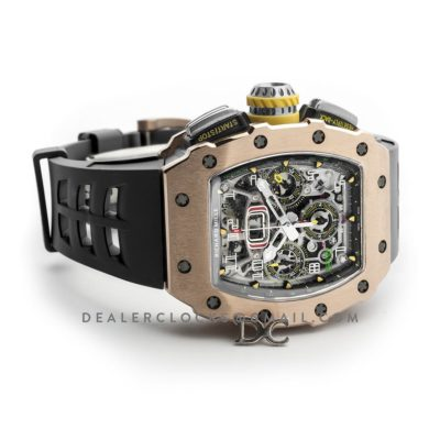 RM 011-03 Automatic Flyback Chronograph in Rose Gold / Titanium on Black Rubber
