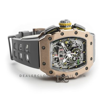 RM 011-03 Automatic Flyback Chronograph in Rose Gold / Titanium on Grey Rubber