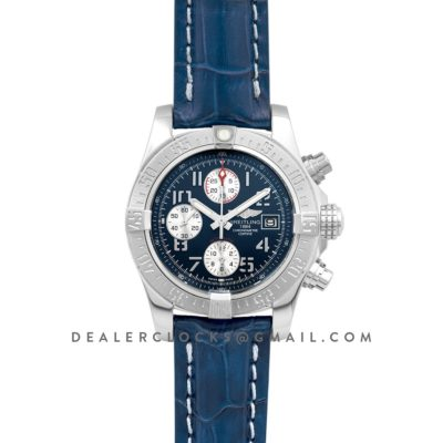 Colt Chronograph 44mm Blue Dial in Steel on Leather Strap