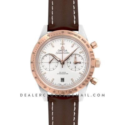 Speedmaster '57 Co-Axial White Dial in Rose Gold/Steel on Brown Leather Strap