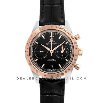 Speedmaster '57 Co-Axial Black Dial in Rose Gold/Steel on Black Leather Strap