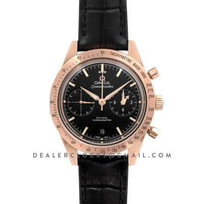 Speedmaster '57 Co-Axial Black Dial in Rose Gold on Black Leather Strap