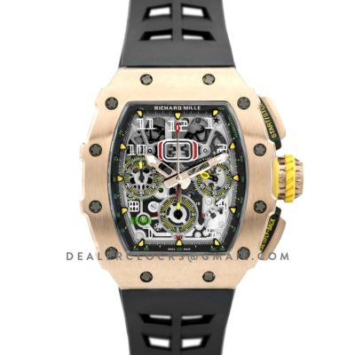 RM 011-03 Automatic Flyback Chronograph in Rose Gold on Black Rubber