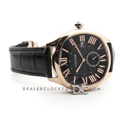 Drive de Cartier Black Dial in Rose Gold on Black Leather Strap