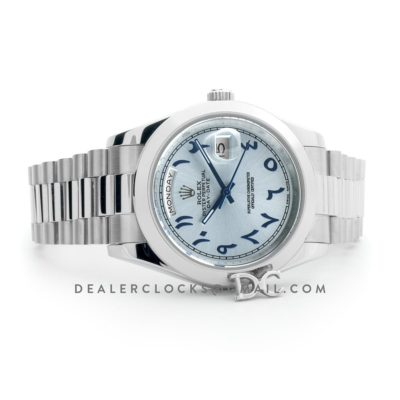 Day-Date 40 228206 Blue Dial in Steel with Arabic Markers