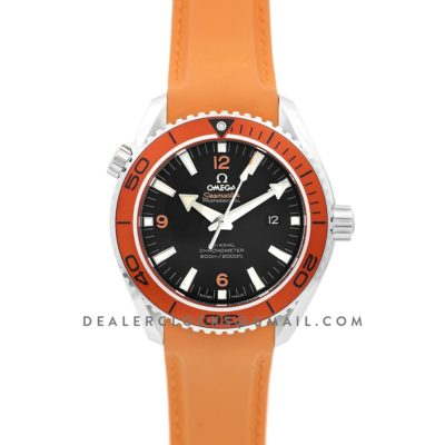 Seamaster Planet Ocean 600m Co-Axial 45.5mm Black Dial with Orange Bezel on Orange Rubber Strap