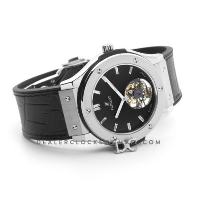 Classic Fusion Tourbillon 45mm Black Dial in Steel on Black Leather Strap
