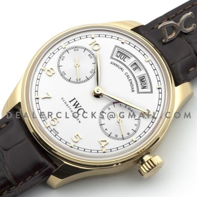 Portugieser Annual Calendar IW5035 White Dial in Yellow Gold