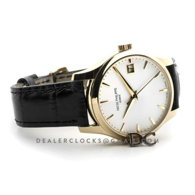 Calatrava 5227J White Dial in Yellow Gold on Black Leather Strap