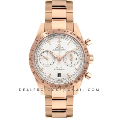 Speedmaster '57 Co-Axial White Dial in Rose Gold on Bracelet