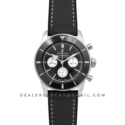 Superocean Heritage II B01 Chronograph in Black Dial on Steel on Black Leather Strap