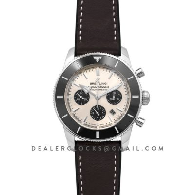 Superocean Heritage II B01 Chronograph in Silver Dial on Steel on Brown Leather Strap