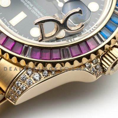 GMT Master II 116758 Pepsi Black Dial in Yellow Gold with Paved Diamond Bezel