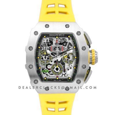 RM 011-03 Automatic Flyback Chronograph in Titanium on Yellow Rubber