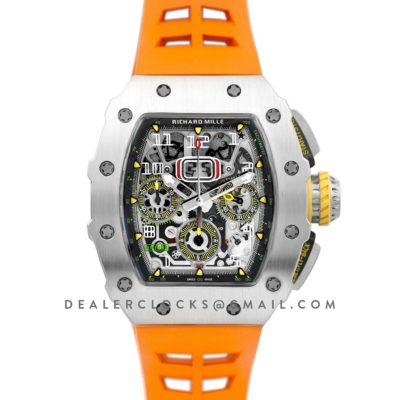 RM 011-03 Automatic Flyback Chronograph in Titanium on Orange Rubber