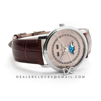 Blancai Villeret Quantieme Complet in Champagne Dial on Brown Leather Strap