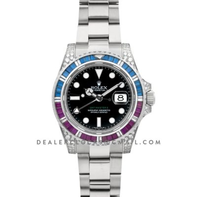 GMT Master II 116758 Pepsi Black Dial in Steel with Paved Diamond Bezel