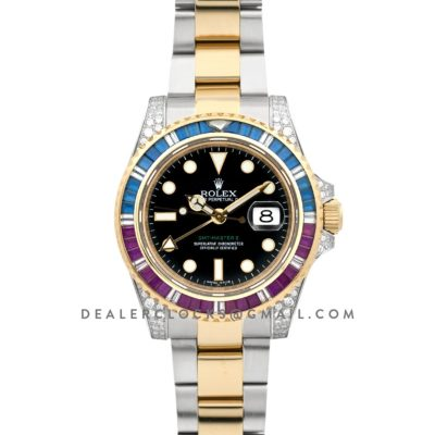 GMT Master II 116758 Pepsi Black Dial in Yellow Gold/Steel with Paved Diamond Bezel