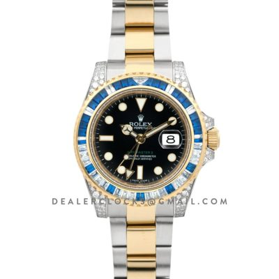 GMT Master II 116758SA Black Dial in Yellow Gold/Steel with Blue/White Paved Diamonds