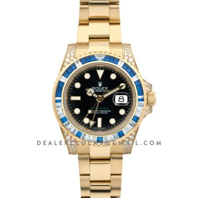 GMT Master II 116758SA Black Dial in Yellow Gold with Blue/White Paved Diamonds