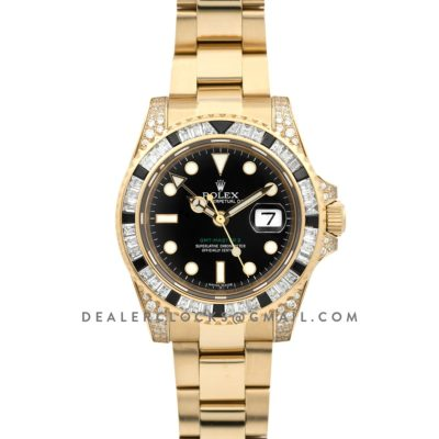 GMT Master II 116758 in Black Dial in Yellow Gold with Paved Diamond Bezel