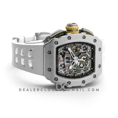 RM 011-03 Automatic Flyback Chronograph in Titanium on White Rubber